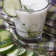 Greek yogurt with cucumber and dill — Stock Photo #43423763