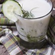 Kefir with fresh cucumber, dill in a glass — Stock Photo #43424955