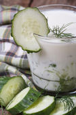 Healthy kefir with cucumber and dill — Stock Photo
