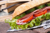 Ciabatta with ham and vegetables on a background of books — Stock Photo