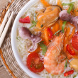 Asian seafood soup close-up top view — Stock Photo
