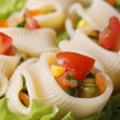 Fresh vegetable salad with pasta lumakoni vertical — Stock Photo