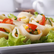 Salad of fresh vegetables inside lumakoni pasta — Stock Photo