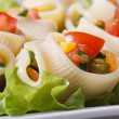 Lumakoni macaroni stuffed with fresh vegetables — Stock Photo