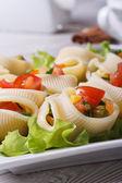 Fresh vegetable salad inside lumakoni pasta — Stock Photo