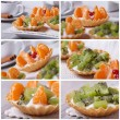 Set of photo fruit tartlets with kiwi and tangerine — Stock Photo