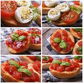 Set of photo Italian bruschetta with tomato — Stock Photo