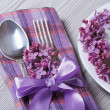 Table setting in purple colors, decoration flowers lilacs — Stock Photo #46079983