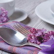 Elegant table setting for breakfast, with flowers lilacs — Stock Photo #46080771
