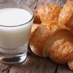 Постер, плакат: Wholesome breakfast: milk and croissants