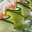 Fresh cucumber rolls with shrimp and cheese macro — Stock Photo #46268887
