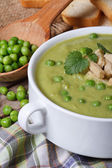 Soup puree of fresh green peas macro. Vertical — Stock Photo