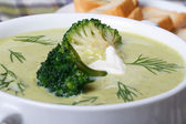 Broccoli puree soup with dill macro. Horizontal — Photo