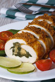 Chicken fillet with spinach and cheese closeup vertical — Stock Photo