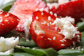 Strawberry and goat cheese closeup in vitamin salad — Stock Photo