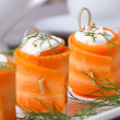 Useful appetizer carrot rolls with cheese closeup — Stock Photo #47408207