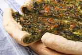 Pie with spinach and soft cheese closeup — Stock Photo