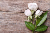 Festive frame of delicate pink roses on a wooden background — Stock Photo