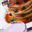 Blueberry cocktail and pancakes with berries and maple syrup — Stock Photo #48360823