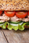 Delicious sandwich with tuna and vegetables macro. vertical  — Stock Photo