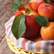 Fresh juicy nectarine, peaches and apricots in a basket — Stock Photo #49561047