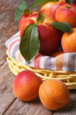 Fresh nectarines and apricots in a basket closeup vertical  — Stock Photo