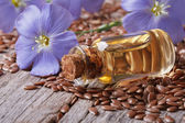 Flax seeds, blue flowers and oil close-up horizontal — Stock Photo