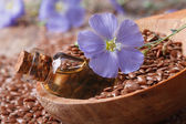 Flax oil in a glass bottle, flowers and seeds in a spoon macro — Stock Photo