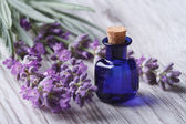 Lavender oil in a glass bottle on a background flowers — Stock Photo