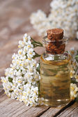 Tincture of yarrow close-up on a background of flowers — Stock Photo