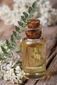 Yarrow oil in a bottle with flowers vertical macro  — Stock Photo