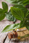 Fragrant oil with basil close-up vertical — Stock fotografie