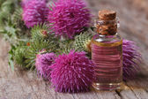 Oil of burdock close-up on a table — Stock Photo