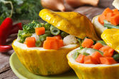 Round yellow squash stuffed with vegetables horizontal  — Stock Photo