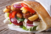 Kebab with meat, vegetables and fries in pita bread — Stock fotografie
