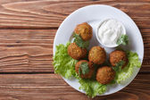 Falafel with sauce tzatziki close-up view from above  — Stock Photo