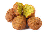 Whole and half falafel isolated on a white background  — Stock Photo