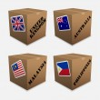 Flags on the box — Stock Vector