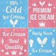 Collection of vintage ice cream labels — Imagen vectorial