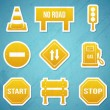 Stok Vektör: Road signs icon Set