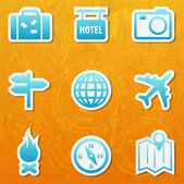 Raccolta di web travel — Vettoriale Stock