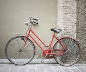 Red bicycle parking — Stock Photo