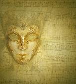 Card golden mask — Stock Photo