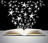 Open book and bright stars — Foto Stock