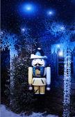 Winter houten soldaat — Stockfoto
