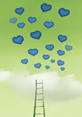 Hearts in blue — Stock Photo