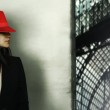 Model with red hat — Stock Photo #25178151