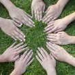 Stock Photo: All hands together