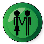 Green button with couple — Stock Vector