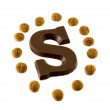 The letter S from chocolate — Stock Photo